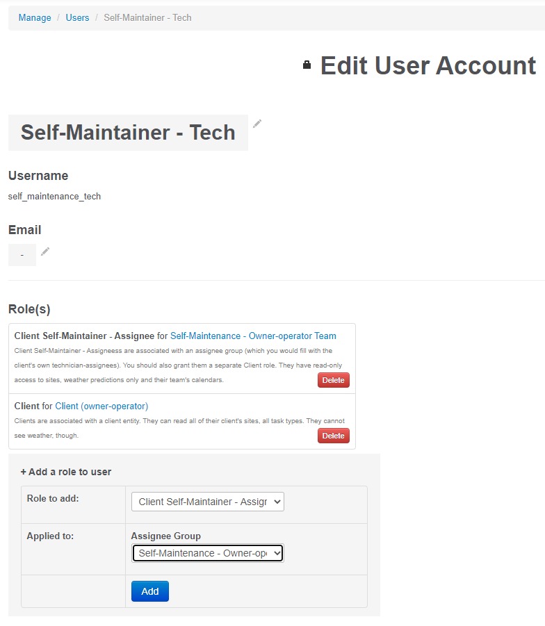 Client Self-Maintainer - Assignee user account creation.
